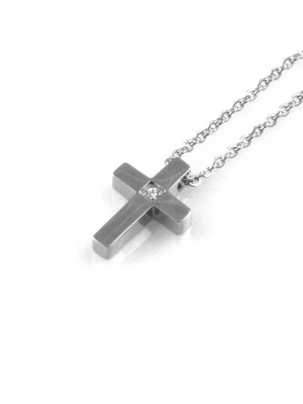 collana uomo croce ciondolo gioiello in acciaio inossidabile zircone catena fino a cm 50 mm 17 mm 11