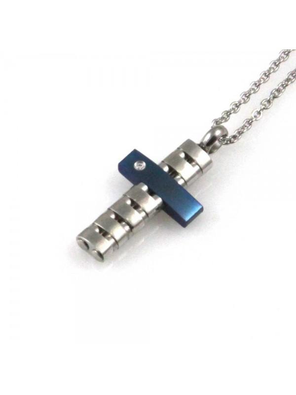 collana uomo croce ciondolo gioiello in acciaio inossidabile blu zircone catena fino a cm 50 mm 22 mm 12
