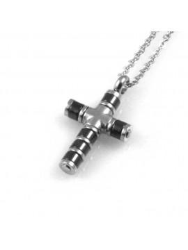collana uomo croce ciondolo gioiello in acciaio inossidabile bicoloreccatena fino a cm 50 mm 21 mm 14
