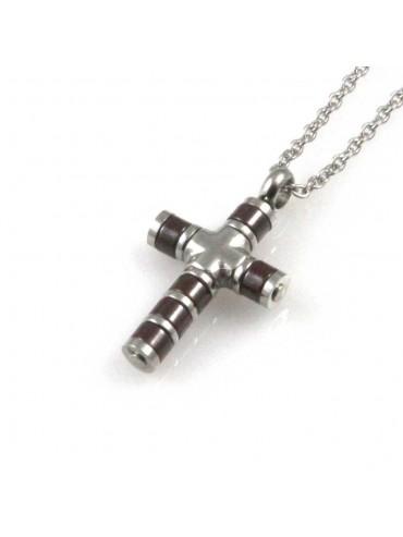 collana uomo croce ciondolo gioiello in acciaio inossidabile moka catena fino a cm 50 mm 21 mm 14