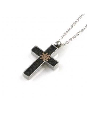 collana uomo croce con timone ciondolo gioiello in acciaio inossidabile e carbonio catena fino a cm 50 mm 20 mm 14