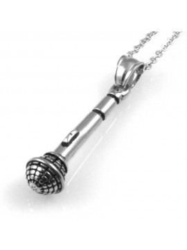 collana uomo con microfono ciondolo gioiello in acciaio inossidabile particolare catena da cm 50 mm 34 mm 8