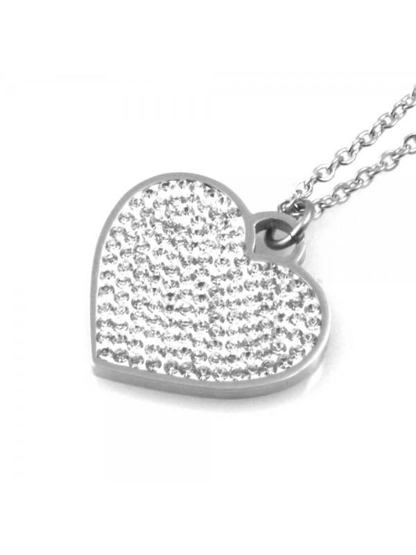 collana donna con cuore ciondolo gioiello in acciaio con strass catena fino a cm 50 mm 25 mm 21