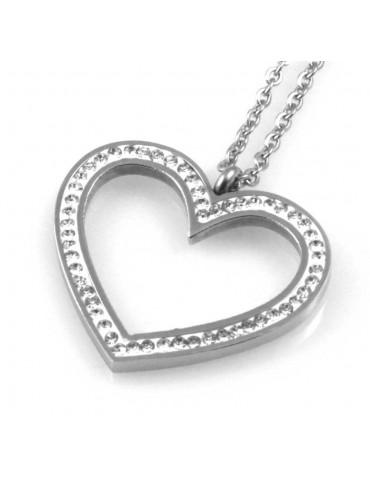 collana donna con cuore ciondolo gioiello in acciaio con strass catena fino a cm 50 mm 30 mm 22