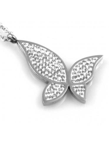 collana donna con farfalla ciondolo gioiello in acciaio con strass catena fino a cm 50 mm 33 mm 29