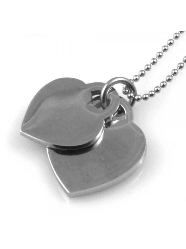 collana donna con cuore doppio ciondolo gioiello in acciaio inossidabile catena fino a cm 50 g mm 25 mm 21 p mm 21 mm 17