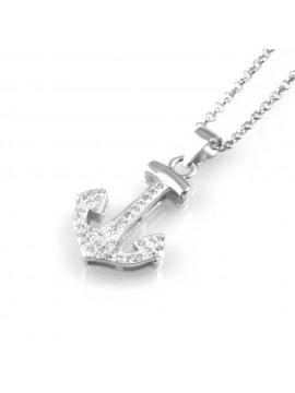 collana donna con ancora ciondolo gioiello in argento 925 rodiato non scurisce catena da cm 45 mm 21 mm 16