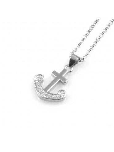 collana donna con ancora ciondolo gioiello in argento 925 rodiato non scurisce catena da cm 45 mm 17 mm 13