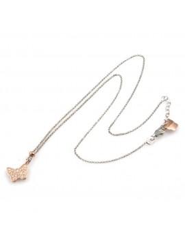 collana donna con farfalla ciondolo gioiello in argento 925 ramato e zirconi catena fino a cm 50 mm 10 mm 10