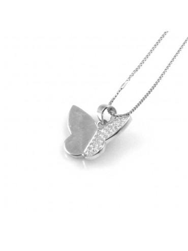 collana donna con farfalla ciondolo gioiello in argento 925 zirconi catena cm 42 mm 14 mm 13