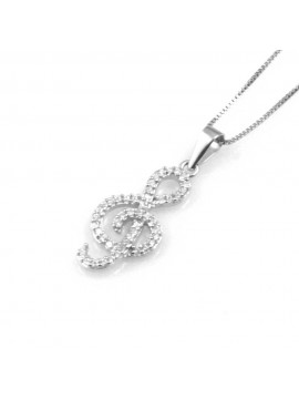 collana donna con chiave di sol o violino ciondolo gioiello in argento 925 zirconi catena cm 42 mm 23 mm 11