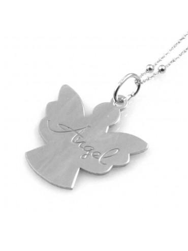 collana donna con angelo o angioletto con scritta ciondolo gioiello in argento 925 catena cm 80 mm 28 mm 24