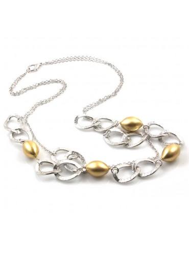 collana donna gioiello in bronzo argentato ciondoli sfere oliva dorate lunga cm 80