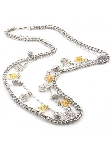 collana donna gioiello in bronzo argentato ciondoli fiori e stella dorati lunga cm 80