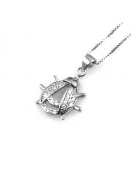 collana donna con coccinella ciondolo gioiello in argento 925 e zirconi catena cm 42 mm 15 mm 13