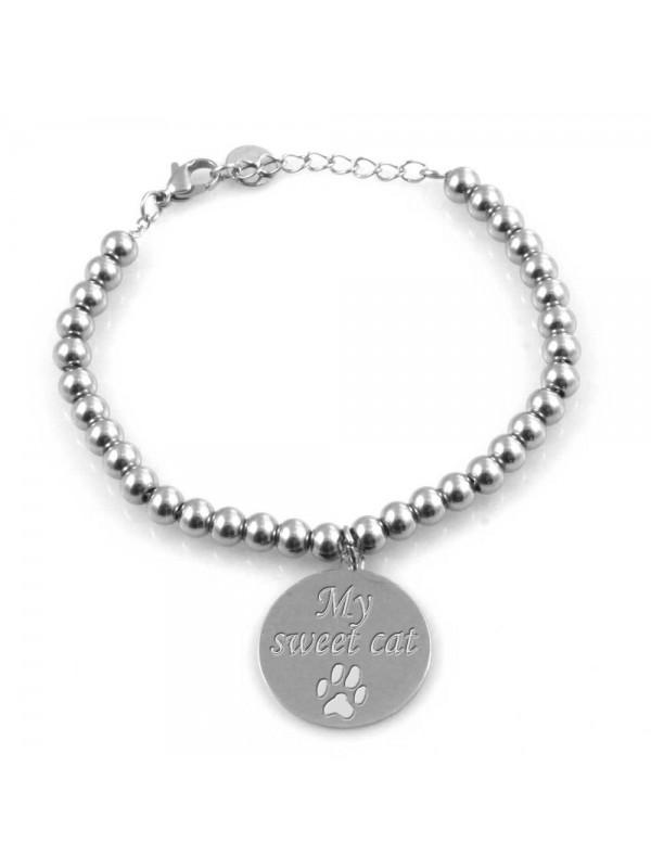 Bracciale donna con ciondolo incise frasi sul mio cane o gatto in acciaio