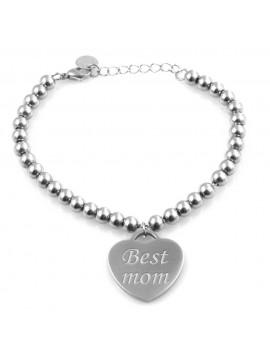 Bracciale donna con ciondolo cuore incise frasi sulla mamma in acciaio