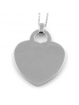 collana donna con ciondolo cuore in acciaio ottimo da incidere
