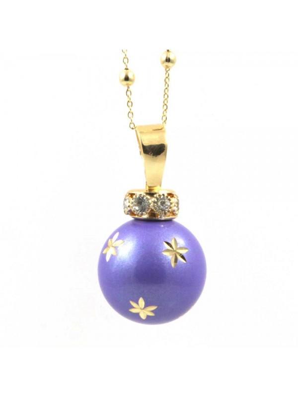 chiama angeli collana donna ciondolo gioiello per gravidanza bola messicana campanellino in bronzo dorato e smalto viola cll1597