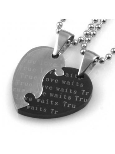 collana uomo donna cuore che spezzato o divide ciondolo gioiello in acciaio inossidabile bicolore catena cm 50
