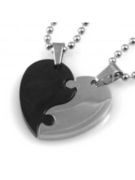 collana uomo donna cuore che si spezza o divide ciondolo gioiello in acciaio inossidabile bicolore catena cm 50