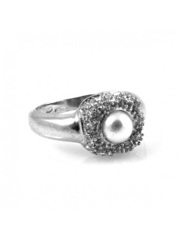 Anello donna in argento con perla