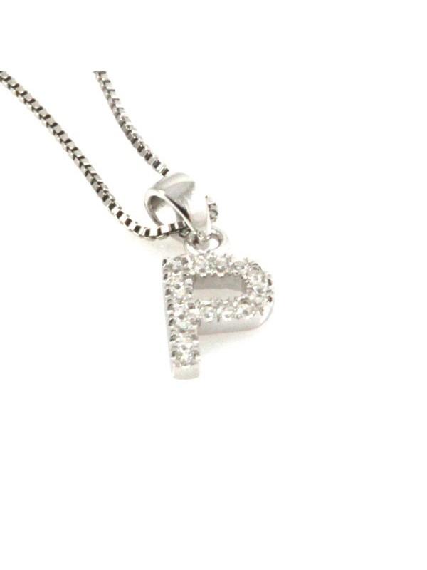 Collana con lettera p iniziale in argento 925
