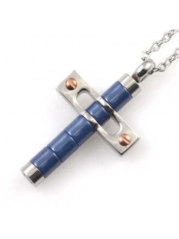 Collana croce da uomo in acciaio e ceramica elementi azzurri e ramati