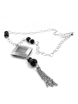 Collana pietre dure donna catena in acciaio