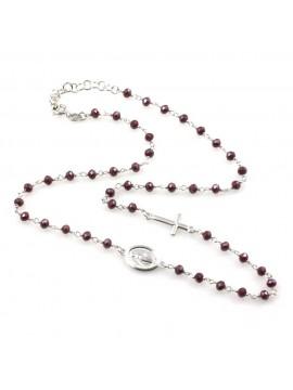Collana rosario donna in argento 925 e pietre rosse scure boreale
