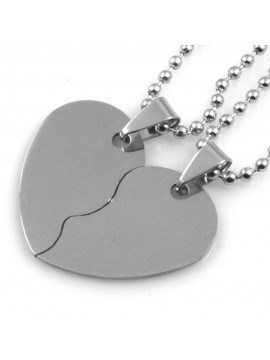 Collana con cuore che si spezza in acciaio - cll0794