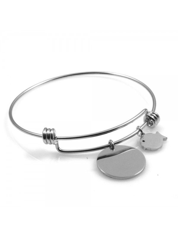 bracciale donna in acciaio rigido con ciondolo tondo e pesciolino ottimo per incisione
