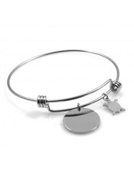 bracciale donna in acciaio rigido con ciondolo tondo e tartaruga ottimo per incisione