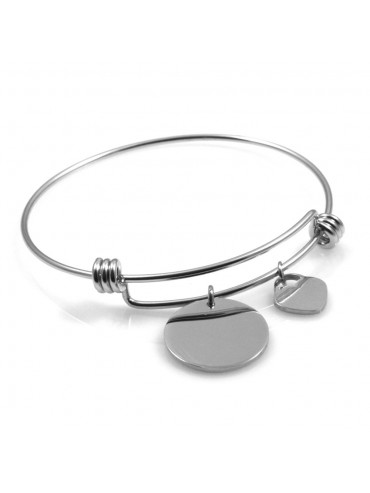 bracciale donna in acciaio rigido con ciondolo tondo e cuore ottimo per incisione
