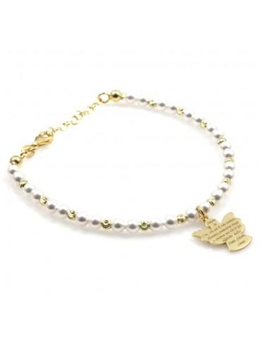bracciale donna bimba con angelo custode preghiera argento dorato e perle