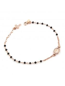 bracciale rosario donna in argento ramato postine nere e strass