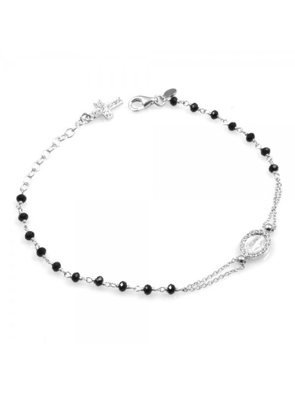 bracciale rosario donna in argento postine nere e strass