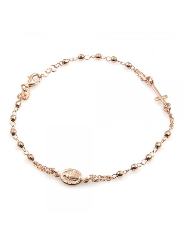 bracciale rosario uomo donna in argento 925 ramato