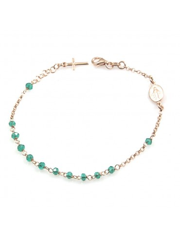 bracciale rosario donna in argento 925 ramato postine verdi