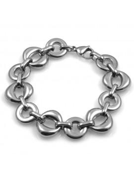bracciale donna in acciaio maglie a cerchi