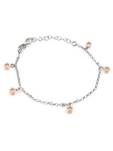 bracciale donna con ciondoli fiorellini in argento 925