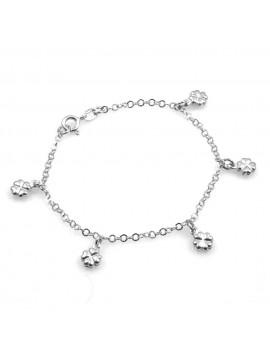bracciale donna con ciondoli quadrifoglio in argento 925