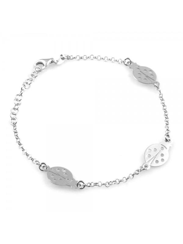 bracciale donna bimba con coccinelle in argento 925