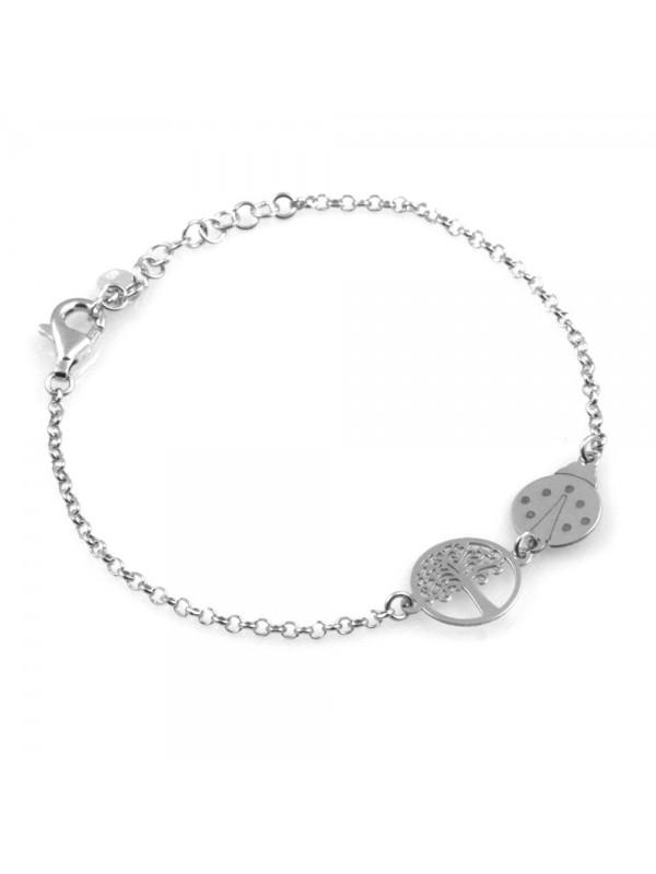 bracciale donna bimba con coccinella e albero della vita in argento 925