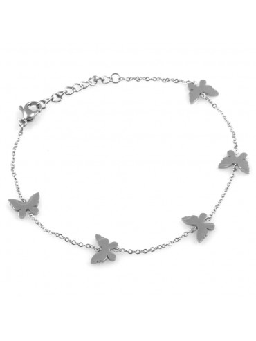 bracciale donna con farfalle in acciaio