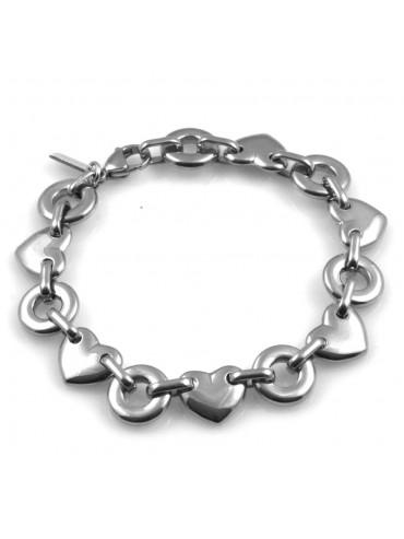 bracciale donna in acciaio motivi cuori