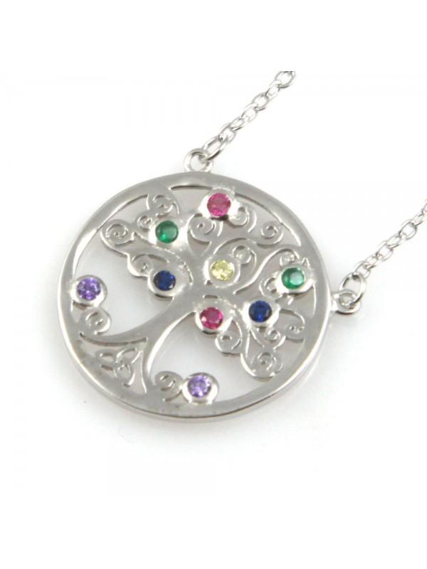 collana donna albero della vita in argento 925 e strass colorati