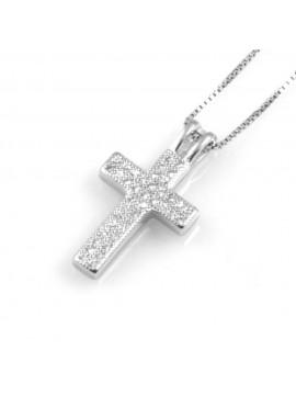 collana donna croce ciondolo in argento 925 e strass