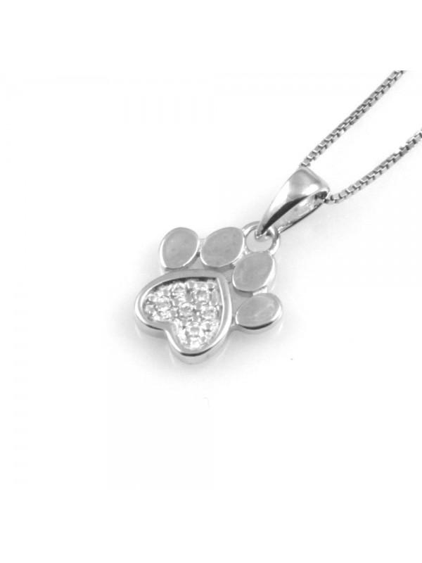 collana donna zampetta ciondolo in argento 925 e strass