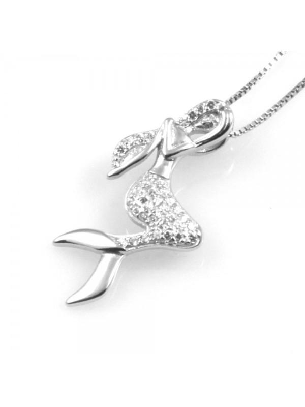 collana donna sirena ciondolo in argento 925 e strass